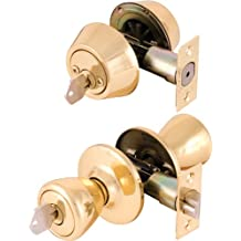 Legend 809006 Tulip Style Front Door Knob Entry Lockset and Double Cylinder Deadbolt Combination Set, US3 Polished Brass Finish