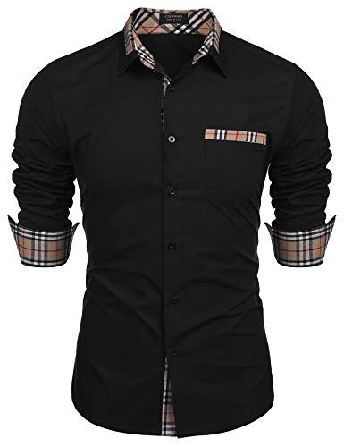 COOFANDY Men's Plaid Collar Cotton Casual Long Sleeve Button Down Dress Shirt Black ()