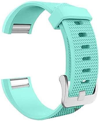 شريط ساعة سيليكون من لايجر متوافق مع ساعات فيت بيت تشارج 2 قياس كبير لون فيروزي