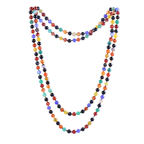 - Qitian 6mm Agate Beads Necklace Bracelet Multicolor Handmade Strand Long Necklace for Women 47''