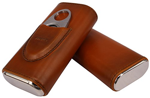 AMANCY Top Quality 3- Finger Brown Leather Cigar Case, Cedar Wood Lined Cigar Humidor with Silver Stainless Steel Cutter by AMANCY (Image #3)