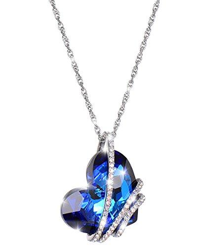 Big blue heart Swarovski Heart of Ocean women's Fashion Jewelry love pendant heart design necklace ()