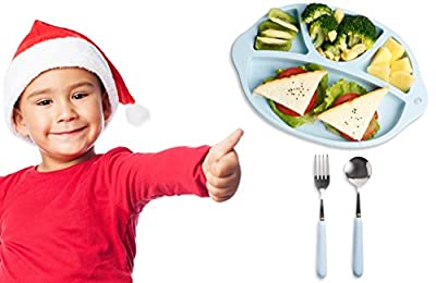 Urbanc 3-Piece Toddler Dinnerware Set - Includes Silicone Divided Plate, Children Spoon and Fork Set + FREE eRecipe - 100% Baby Safe, BPA Free, Unbreakable. Perfect Food Plate for Baby and Kids