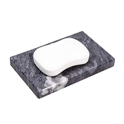IMEEA Heavy Duty Marble Soap Dish Holder Bar Soap Holder Natural Marble Stone Soap Tray (Black) ()