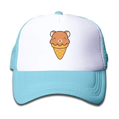 Tasty Cute Kawaii Bear Ice Cream Kid's Trucker Hats,Toddler Baseball Mesh Cap Sky Blue