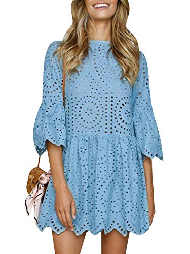 (BerryGo Women's Casual Cotton Aline Dress Flare Sleeve Loose Mini Dress Light Blue)