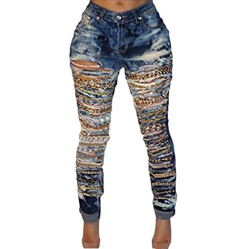 WSPLYSPJY Womens Hole Skinny Pencil Denim Jeans Stretch Slim Fitness Pants Trousers