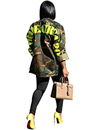 Women Fashion Military Camouflage Letters Printed BF Coat Safari Jacket Overcoat