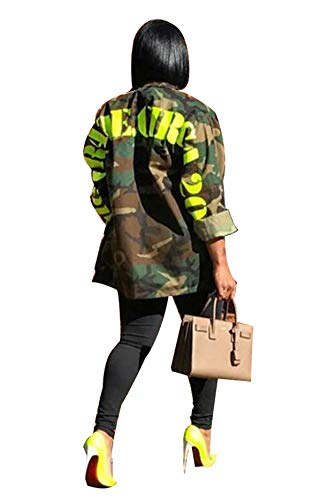 Antique Style Women's Casual Military Camo Print Lightweight Outwear Coat Camouflage Longline Overcoat Safari Jacket Party Club Dress XXL