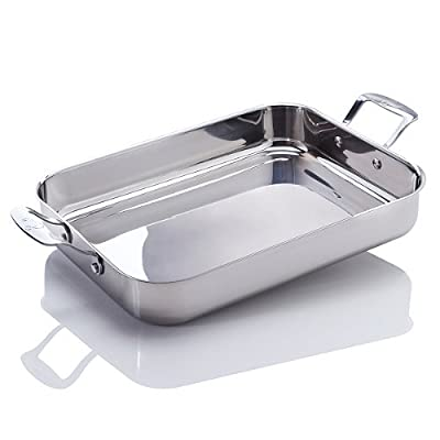 Emeril by All-Clad E9029864 Stainless Steel Oven Safe Lasagna Roasting Pan Dishwasher Safe Cookware, Silver