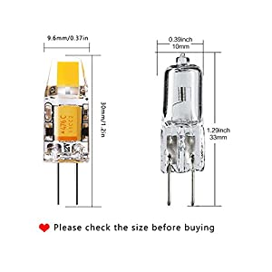Yuiip Led G4 Bulb Bi-Pin Base 2700K Warm White Light Bulb, No Flicker, Dustproof 12v 10W Halogen Replacement ( 2rd Generation Shockproof AC/DC Lamp) for Landscape RV 10 Pack