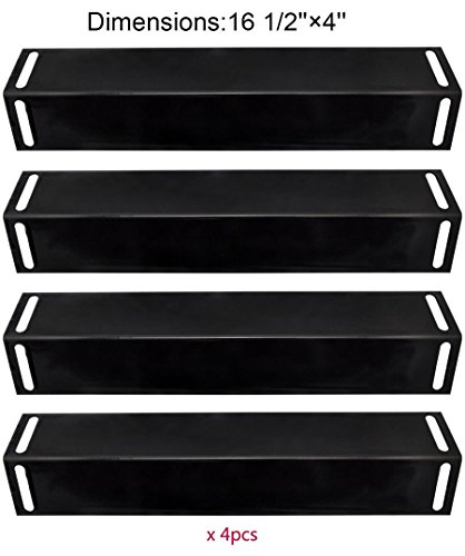 BBQration (4-pack) Porcelain Steel Heat Plate Replacement for Select Gas Grill Models By BBQ Grillware, Uniflame, Charbroil, Grill Chef and (Charbroil Outdoor Fireplace)