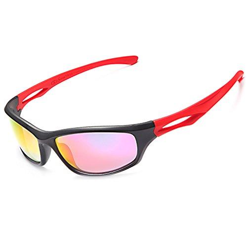 Siren Mens Polarized Unbreakable Sunglasses - Red Mirror Lens Black Red Frame