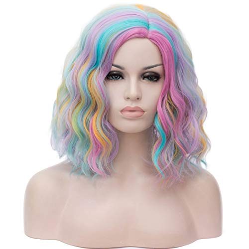 (Mildiso Rainbow Wig Womens Short Curly Bob Wavy Hair Wigs Colorful Cosplay Party Costume Wigs Full Heat Resistant Synthetic Wigs with Cap)