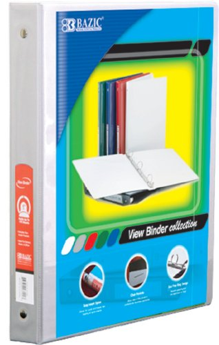 BAZIC 1/2'' White 3-Ring View Binder w/ 2-Pockets (Case of 12) (3142-12) by Bazic