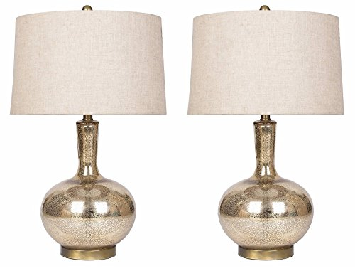 Abbyson Mercury Glass Table Lamp, Set of 2, Gold (Mercury Glass Table)