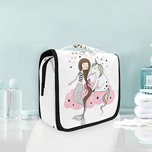 Makeup Cosmetic Bag Rainbow Unicorn Mermaid At Pink Cloud Stars Portable Storage Travel Toiletry Bag Clouds & Stars Quick Zip