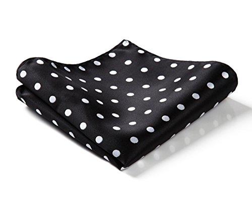 HISDERN Men's Polka Dot Wedding Party Pocket Square Handkerchief Black/White