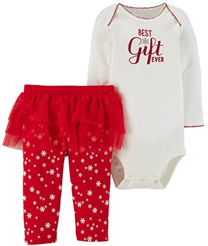 - Carter's Just One you Baby Girls Greatest Gift Ever Bodysuit and Tutu Leggings Set Cream/Red (3 Months)