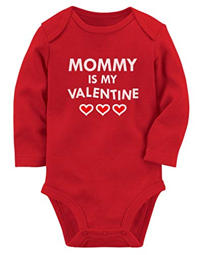 Mommy is My Valentine Mom & Infant Baby Long Sleeve Bodysuit Newborn Red