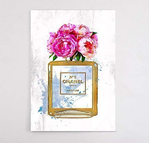 - Fashion wall pop art print - Illustration - 5 Perfume Flower with Gold - Chic Glam Vogue poster on Canvas 20