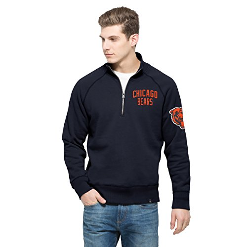 '47 NFL Chicago Bears Men's Gamebreak 1/4-Zip Fleece Pullover, Medium, Fall Navy