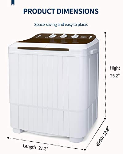 KUPPET Washing Machine, 16.5lbs Compact Twin Tub Wash&Spin Combo for Apartment, Dorms, RVs, Camping and More, White&Brown