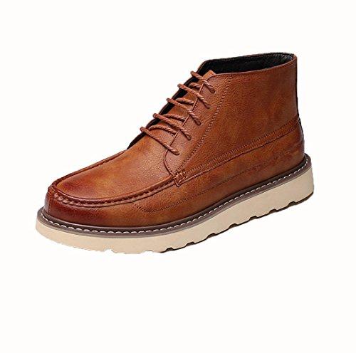 WZG zapatos ocasionales de los hombres de Inglaterra Martin botas de alta superior zapatos de hombre, botas de encaje Yellow