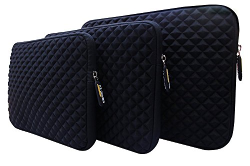 AZ-Cover 14.1-Inch Simplicity Stylish Diamond Foam Shock-Resistant Neoprene Sleeve (Black) For Dell Latitude ATG D630 14.1-Inch Notebook