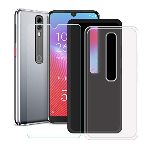 YZKJ 2 Pack Case for Vodafone Smart V10 Cover + Screen Protector Tempered Glass Protective Film - Flexible Soft Gel Crystal Transparent + Black TPU Silicone Protection Case for (5.9