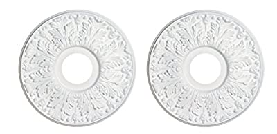 Dysmio Lighting - 15.5 Inch Victorian Molded Plastic Ceiling Medallion White Finish- 2-Pack