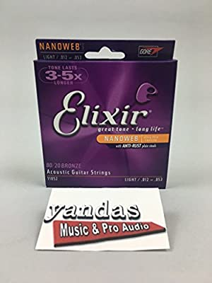 Elixir® Strings Acoustic 80/20 Bronze Guitar Strings with NANOWEB® Coating, 8 String Baritone (.016-.070)