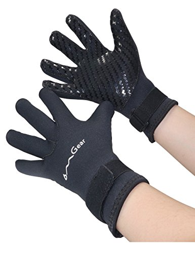 Neoprene Gloves Diving Wetsuit Gloves Anti-slip Flexible Thermal With Adjustable Waist Strap For Snorkeling Scuba Diving Spearfishing Surfing Kayaking Rafting Sailing All Watersports (black, S) -