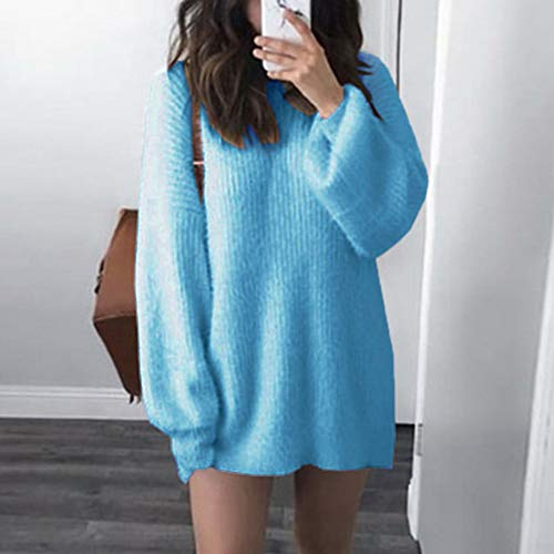 Tricot Chandails et Pull Chemisier Pull Manches Solide Bleu Long Chaud Robe Neck O Amlaiworld Mode Automne Lache Robe Femmes Longues Femme Hiver gHxw4q8F
