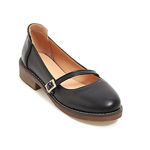 Negro Una Zapatos Cabeza Con Redonda Correa Color Slotted Mujer GAOLIM Zapatos Estudiante Zapatos Bold Con En Tendencia Sola Light Sólido 7xW8p7XnH