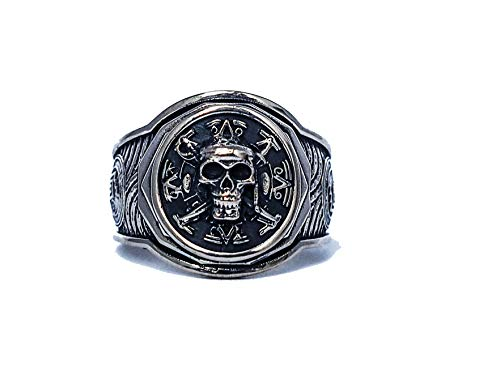 (Jack Sparrow Ring, Pirate Ship Ring, Pirate of the Caribbean Skull Ring, Pirate Ring, Skull Ring, Pirate Skull Ring, Steampunk925 Sterling Silver All Size Style Heavy Biker Harley Rocker Men's Jewelry)