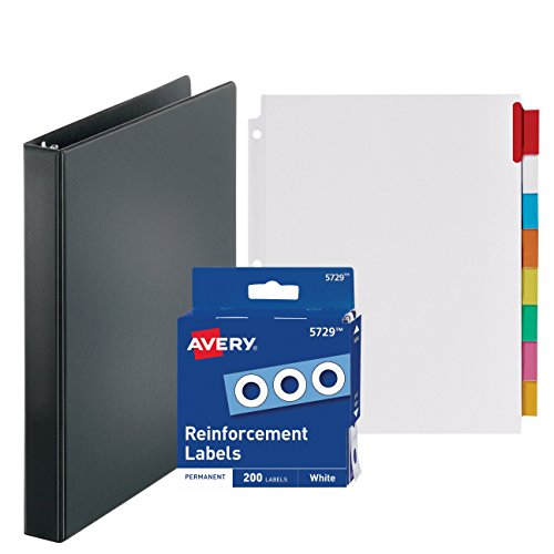 3-Ring Binder, 1 Inch - With Big Tab Insertable Extra Wide Dividers 8 Multicolor Tabs - With 200 White Hole Reinforcements, Hole Reinforcers for 3 Ring Binders - Value Set (Black Ring Binder) by Klingy