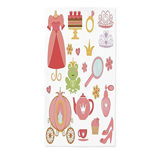 (Kids Decor No Fading Tablecloth,Princess Tiara Tea Party Mirror Teapot Tea Party Frog Crown Fairy Cupcake Girls Decorative for Table Outdoor Picnic Holiday Dinner,52''W X 104.3''L)