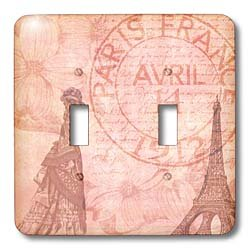 Toggle Light Switch Cover - 3dRose lsp_79365_2 Vintage French Lady in Paris with Eiffel Tower and Dogwood Flowers Double Toggle Switch