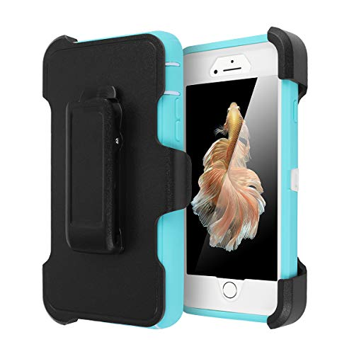 iPhone 6 Case, iPhone 6S Case [Heavy Duty] AICase Built-in Screen Protector Tough 3 in 1 Rugged Shorkproof Cover for Apple iPhone 6/6S (White/Light Blue with Belt Clip)