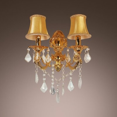 fei Luxury Two Light Wall Sconce Features White Fabric Shades Trimmed with Crystal Accents