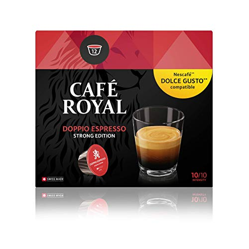 Café Royal Doppio Espresso Strong Edition 12 Nescafé Dolce Gusto kompatible Kapseln (Intensität 10/10) (4 x 12 Kaffeekapseln)