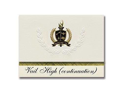 Signature Announcements Vail High (continuation) (Montebello, CA) Graduation Announcements, Pack of 25 with Gold & Black Metallic Foil seal, 6.25