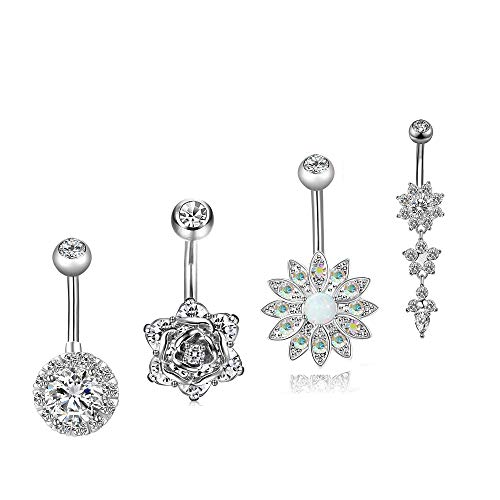 Dangle Navel Belly Button Rings,Belly Rings Bar Body Piercing Rings,4pcs/pack by HYYIdealism