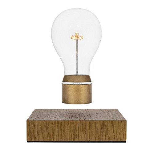 Flyte Royal - Original, Authentic Floating Levitating LED Light Bulb (Oak Base, Gold Cap Bulb) by Flyte