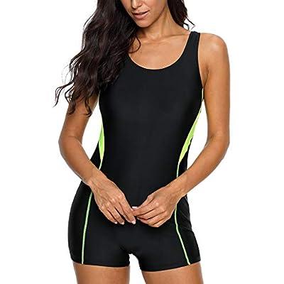 CharmLeaks Womens Boyleg One Piece Swimsuit Athletic Swimwear Lap Bathing Suit: Clothing