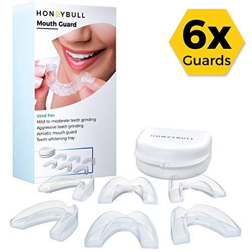 HONEYBULL Mouth Guard For Teeth Grinding [6 Pack] For Bruxism, Sport, Whitening