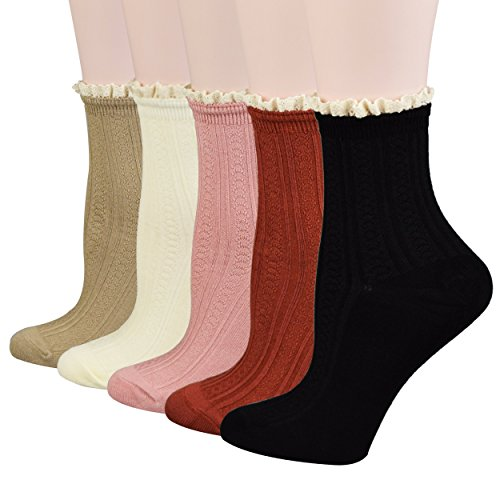Fitu Women's Cute Rayon From Bamboo Crew Socks 5 Pairs Pack ...
