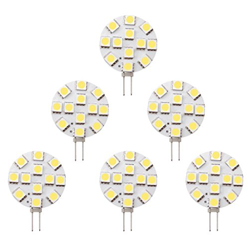 Halogen Interior Lighting - Dream Lighting 12V DC LED 1.9 Watt G4 Bulb / JC10 Bi-Pin 20W Halogen Replacement for Auto, Trailer, Car, Boat Interior Kitchen Under Cabinet Lamp, Spotlight, Dimmable Cool White, Pack of 6
