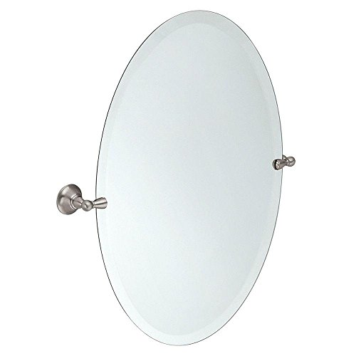 Moen DN6892BN Sage 26-Inch x 23-Inch Frameless Pivoting Bathroom Tilting Mirror, Brushed - Wall Height For Bathroom Standard A Mirrors